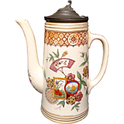 AESTHETIC Brown Transferware Coffee Pot ~ TENNYSON 1884