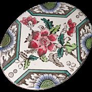 Aesthetic Transferware Tea Tile Trivet ~ Sunflower & Wild Rose 1880