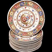 Twelve 12 Aesthetic Brown Transferware Plates ~ SUNFLOWERS 1883