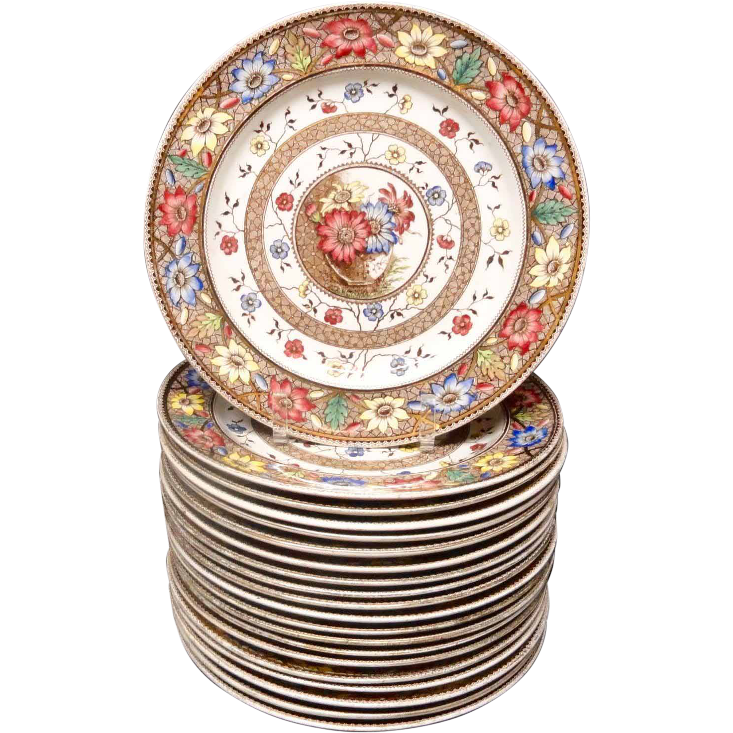 Twenty 20 Aesthetic Brown Transferware Plates ~ SUNFLOWERS 1883