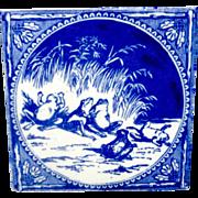 Victorian Blue Transferware Tile ~ FROGS 1880