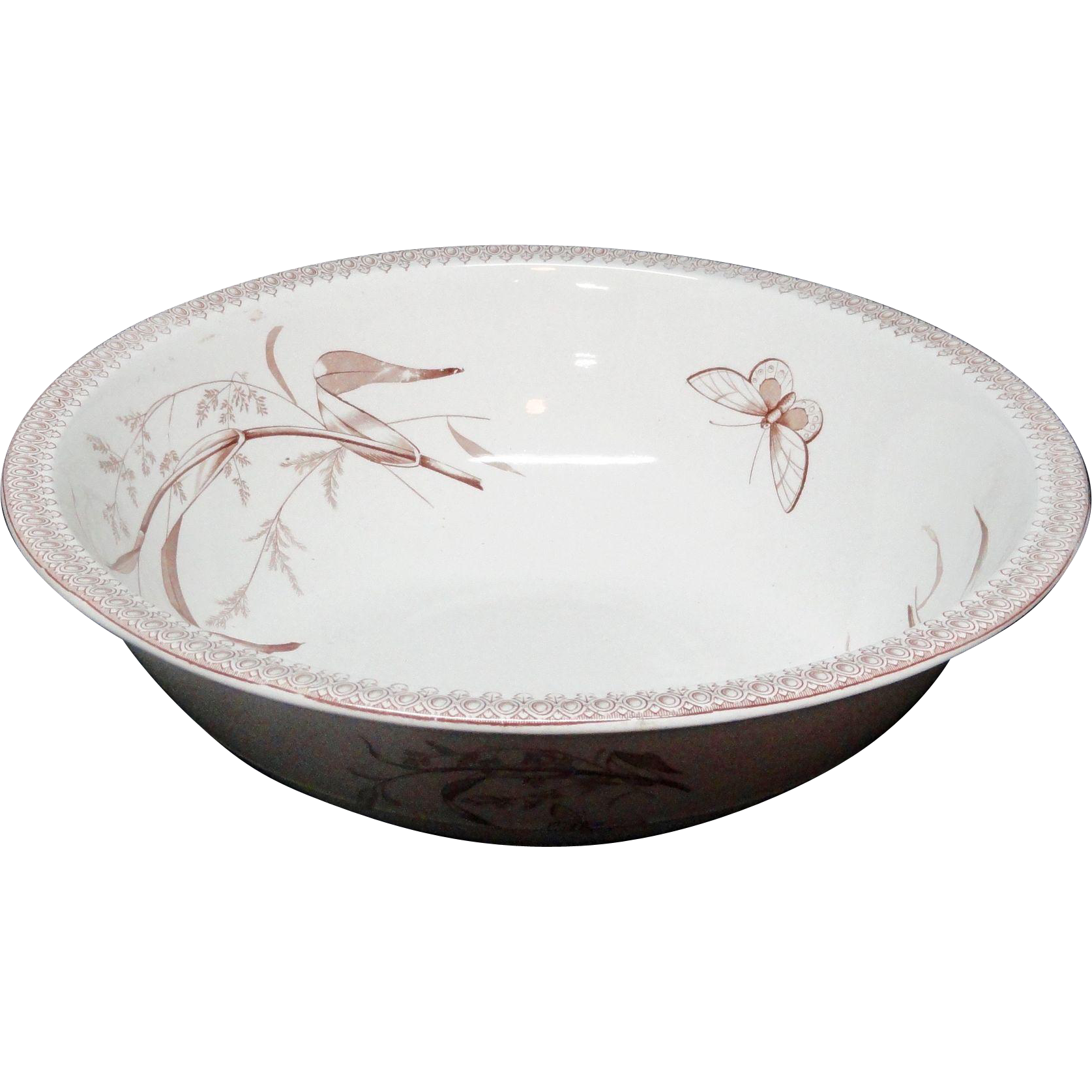 Spectacular Brown Transferware Wash Basin ~ Summertime 1890