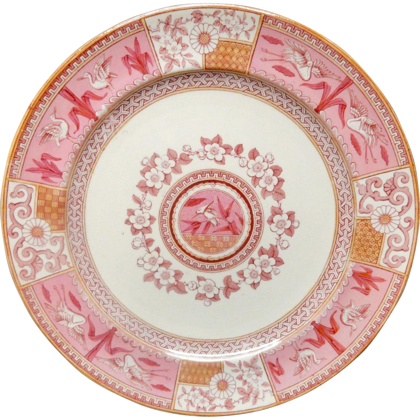 Victorian Red Pink Transferware Plate ~ KINGFISHER 1880