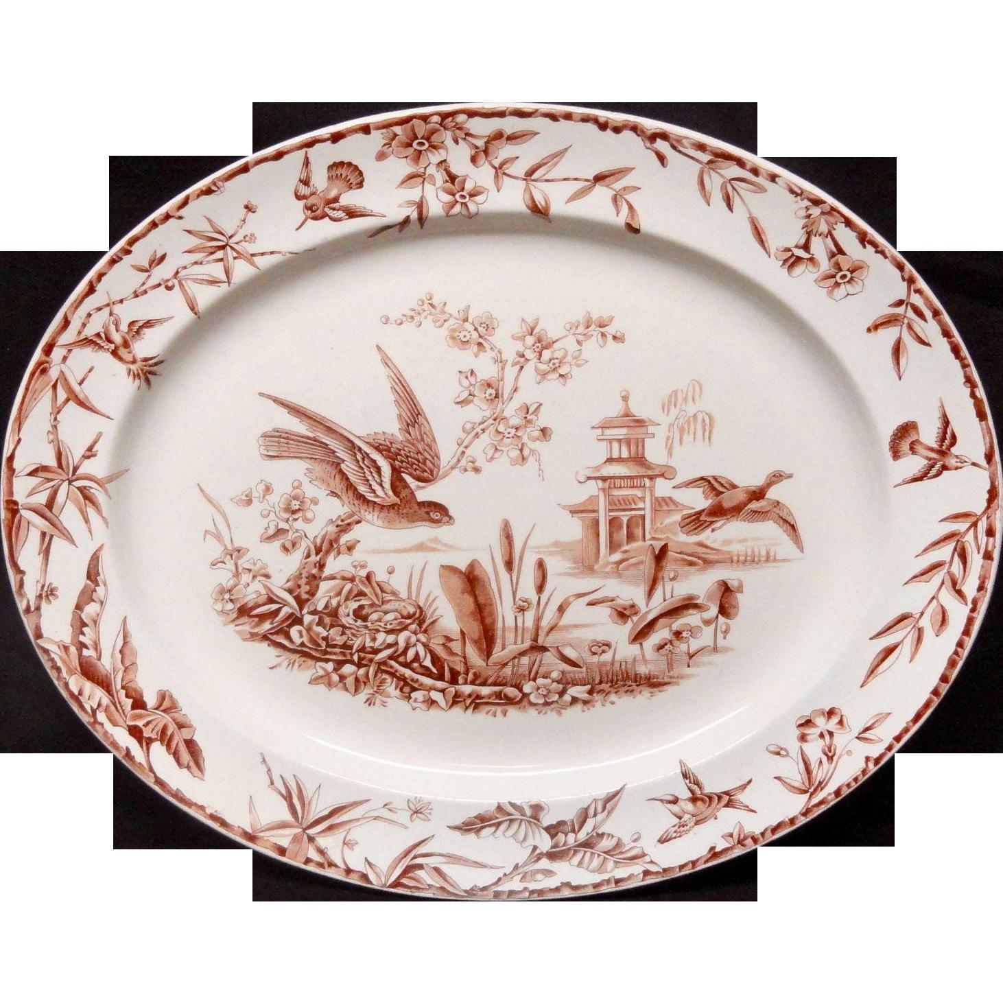 Victorian Hawk Duck Birds Nest ~ Brown Transferware Platter ~ INDUS ~  1877