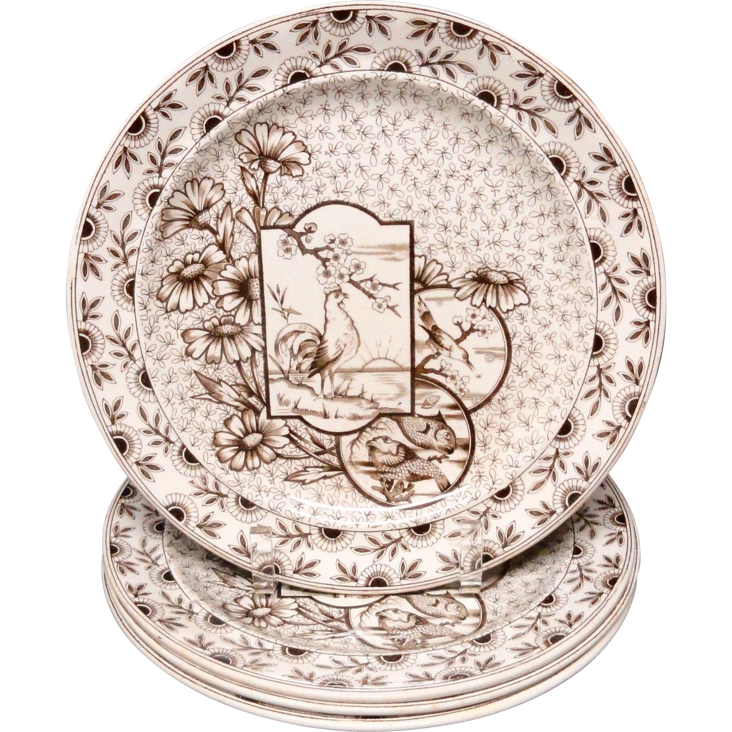 FOUR Staffordshire Brown Transferware Plates ~ Devonshire ~ Rooster ~ Fish 1885
