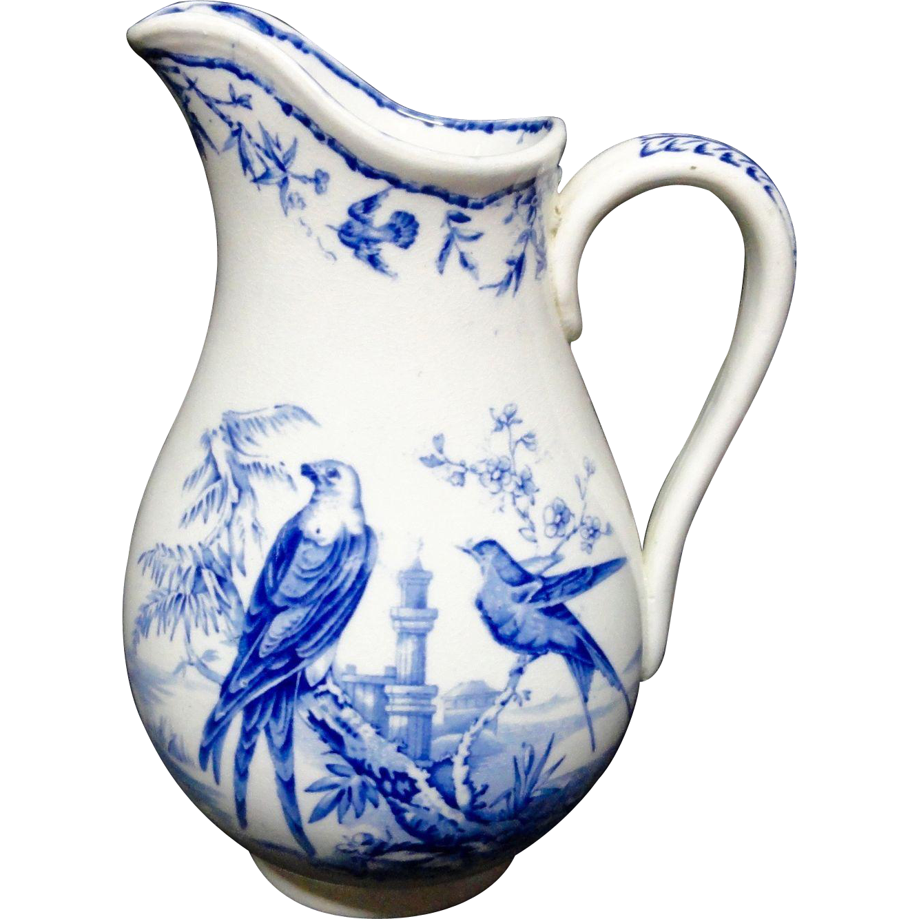 ANTIQUE Blue Transferware Victorian Pitcher ~ INDUS 1875