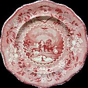 Staffordshire Red Transferware Plate ~ Millennium ~ Lion Lamb 1825