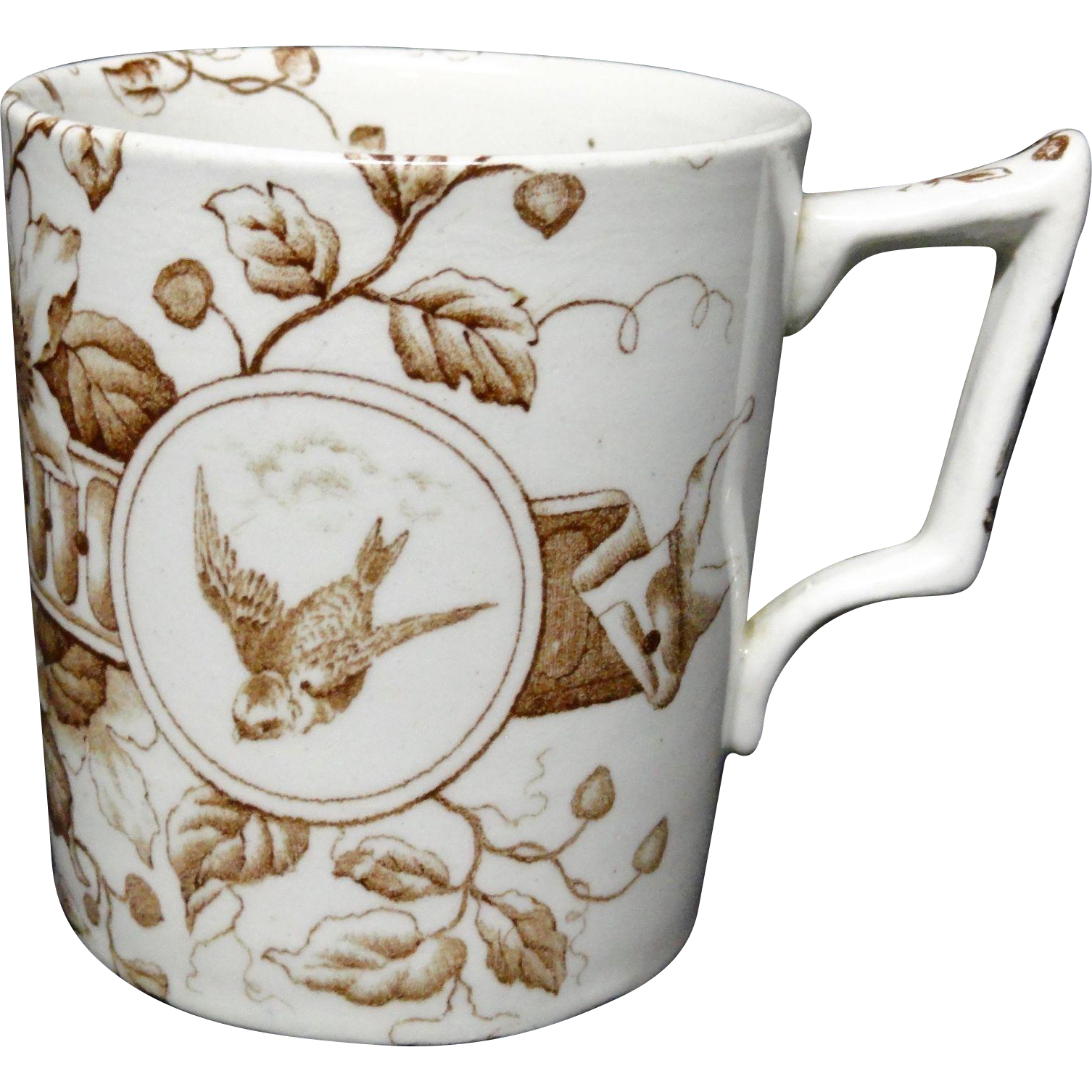 Fine Brown Transferware Birds Mug ~ DOVER ~ 1885