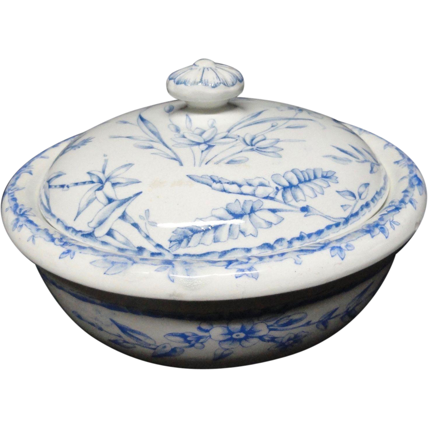 Blue Transferware Hummingbirds Butter/Cheese ~ Indus 1885
