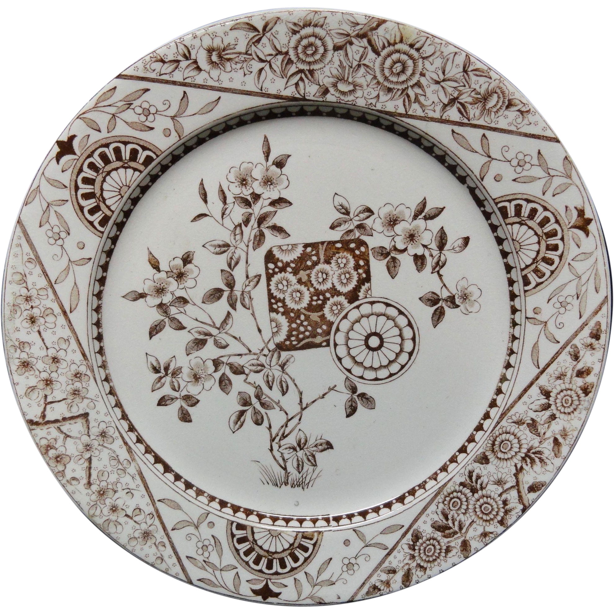 Dark Brown Transferware Victorian Plate ~ Gordon 1890