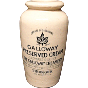 Stoneware Galloway's Advertising Cream Pot ~ 1890