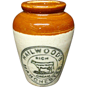 Stoneware Hailwood's Advertising Cream Pot ~ COW ~ 1900
