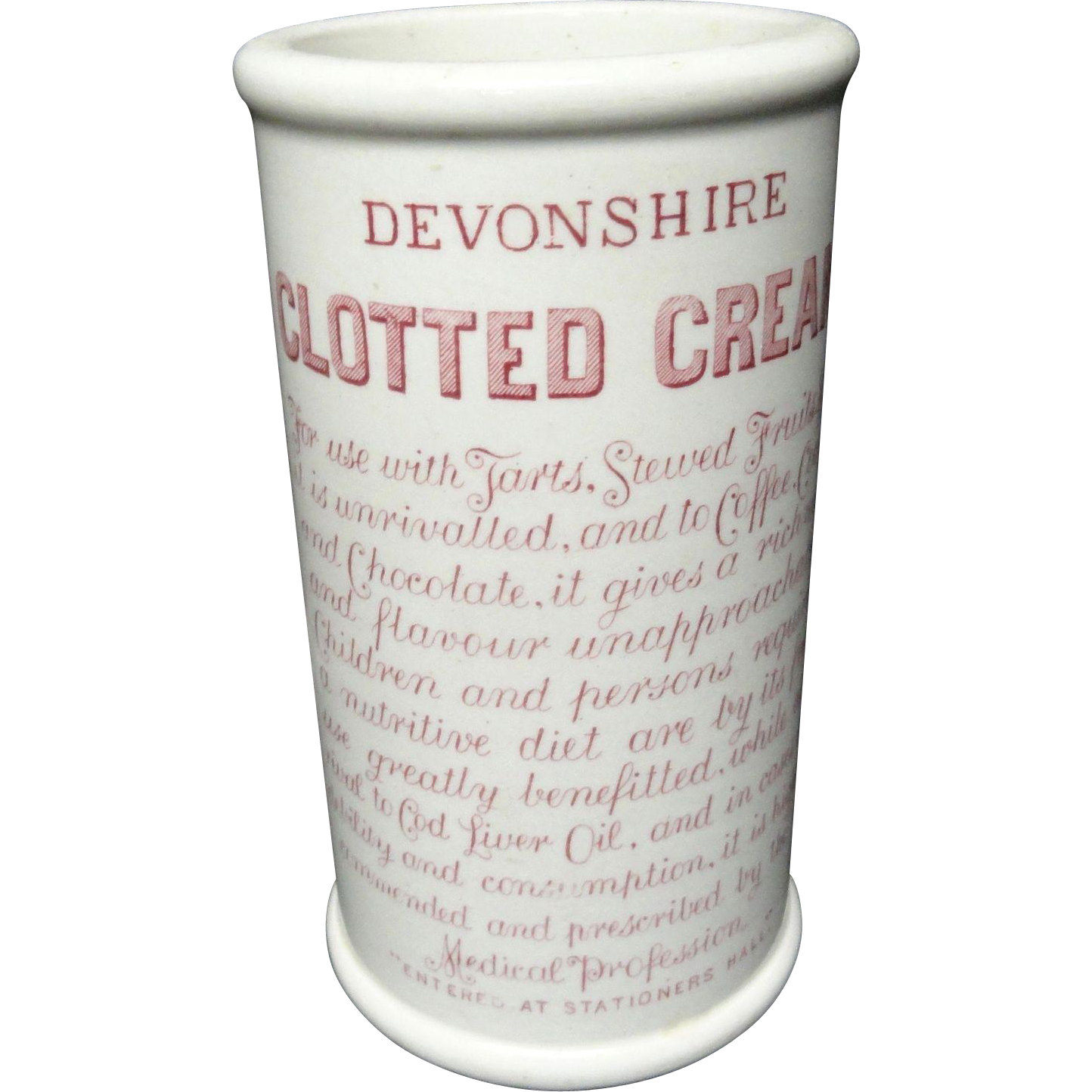 Rare Red Victorian CLOTTED CREAM Pot ~ 1880