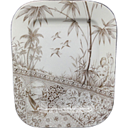 Rare Very Large American Made Aesthetic Transfer Platter ~ OWL ~ Tropics ~ 1880