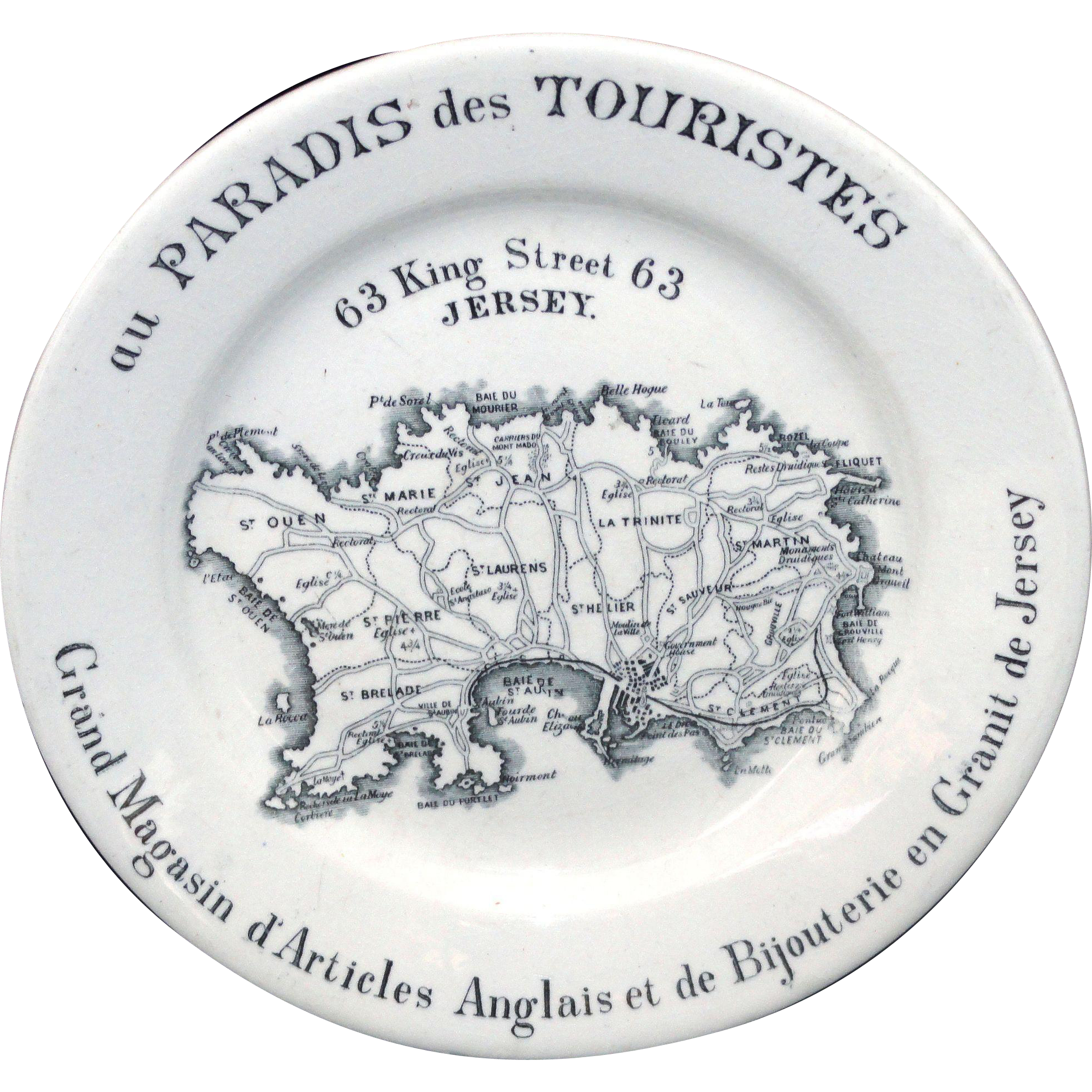 Rare Ironstone Transferware MAP PLATE Jersey Channel Islands c1880