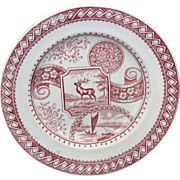 Scarce Red Aesthetic Transferware Breakfast Plate STAG Charles Allerton & Sons  Staffordshire, England 1880