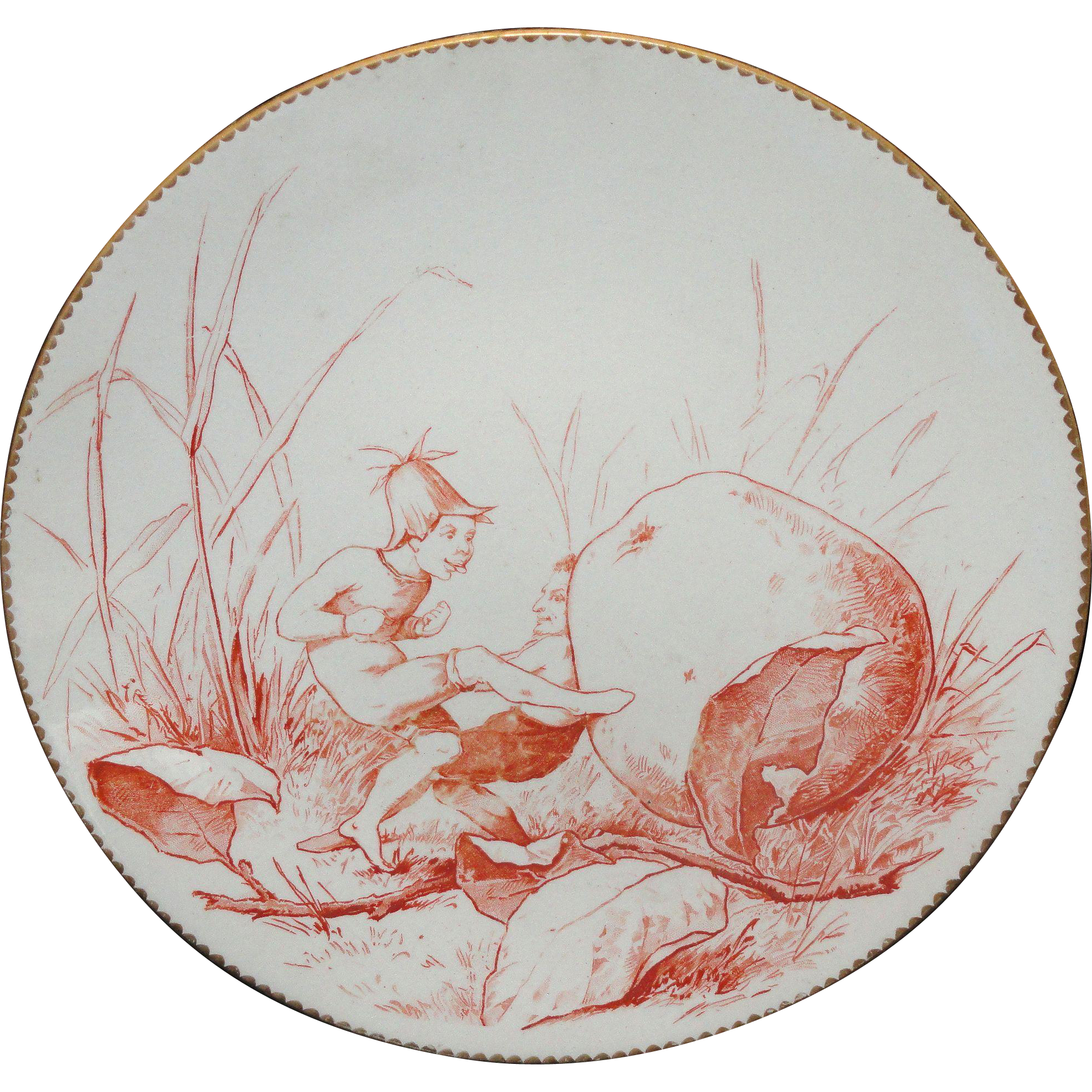 Staffordshire Allegorical Plate Fairy Elf Bringing Home Dessert 1880 Brownfield