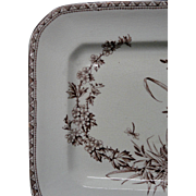 Dragonfly ~ Square Brown Transferware Cake Plate ~ 1890