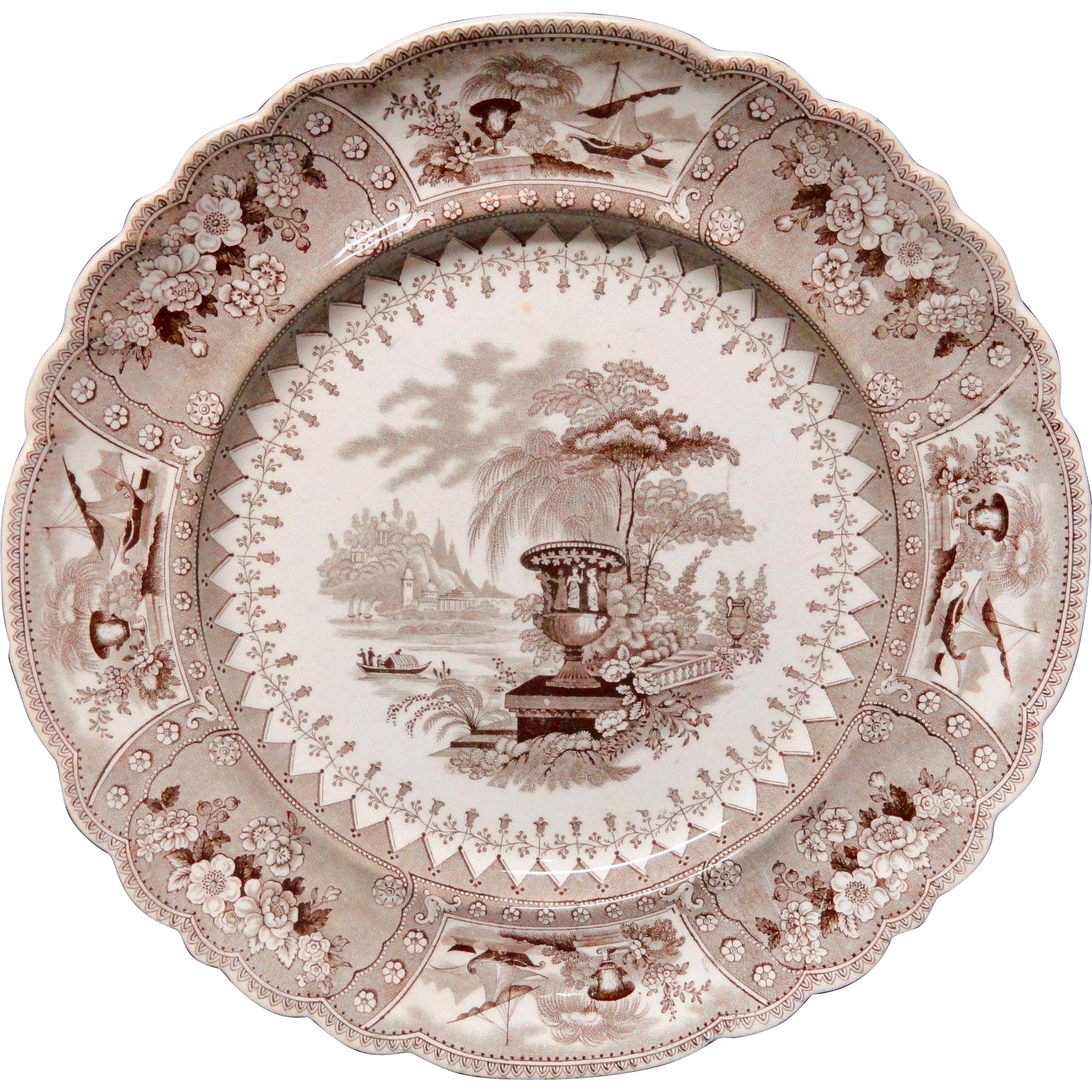 Brown Staffordshire Transferware Plate ~ CANOVA ~ 1840