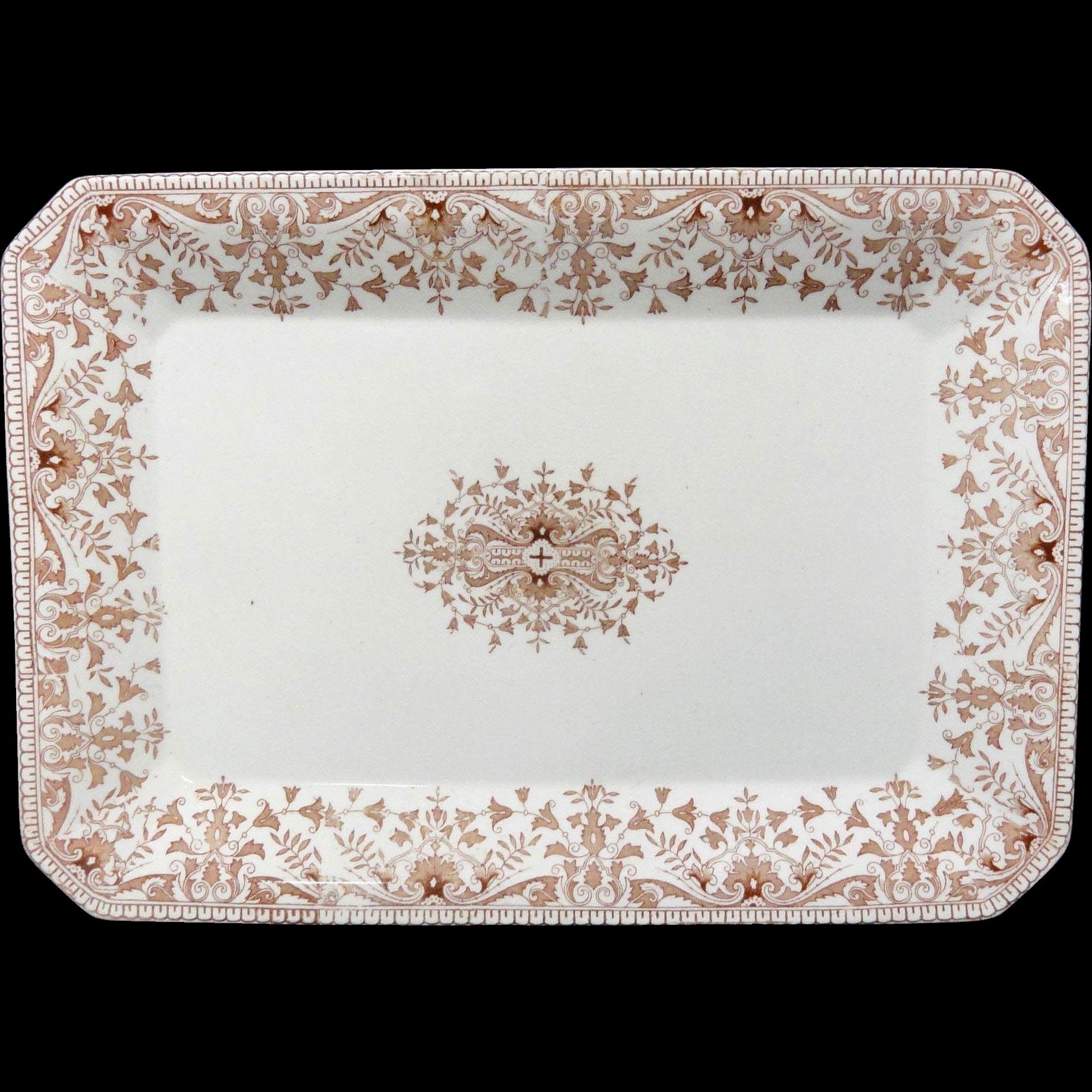 Aesthetic Movement Brown Transferware Platter ~ TOURNAY 1885