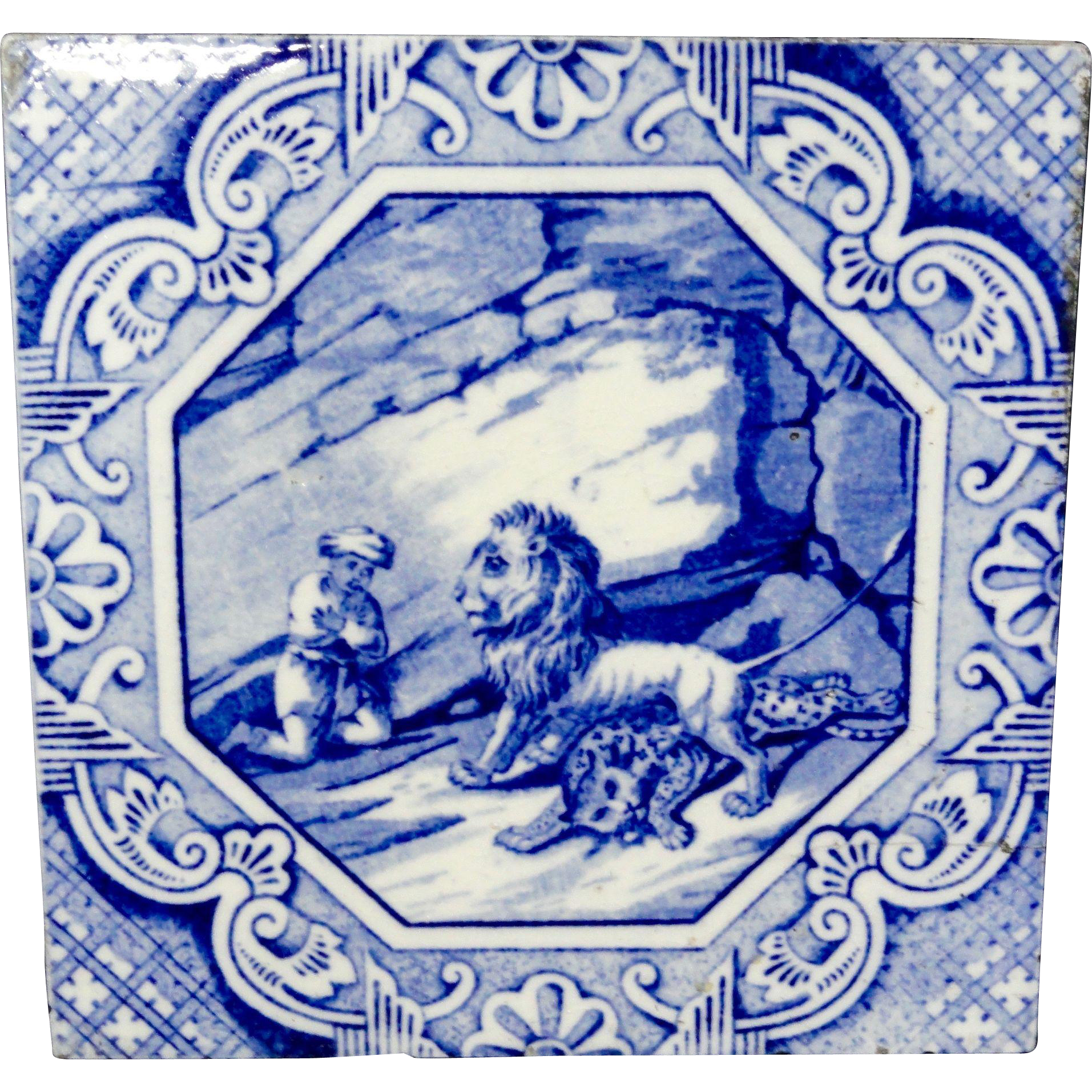 Aesthetic Movement Minton Tile  Aesop Fable ~ Androcles 1870