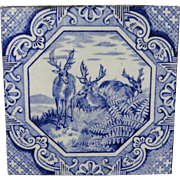 Aesthetic Movement Minton Tile  Aesop Fable ~ Stag 1870