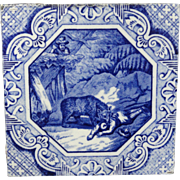 Aesthetic Movement Minton Tile Aesop Fable ~ Bear and the Two Travelers 1870
