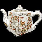 Brown Transferware Staffordshire Tea Pot ~ Devonshire 1884