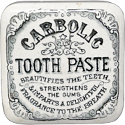 RARE Square English Carbolic Tooth Paste Pot + Lid 1880