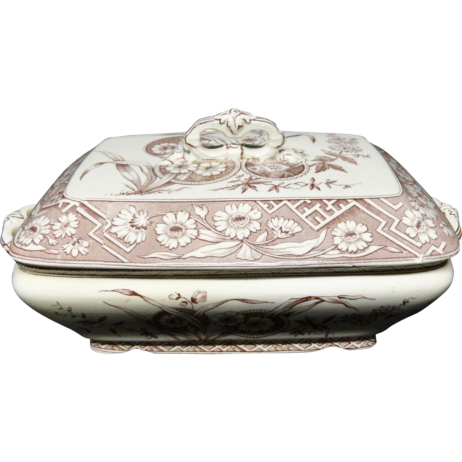 Aesthetic Movement Brown Transferware Tureen ~ FLORENCE 1882