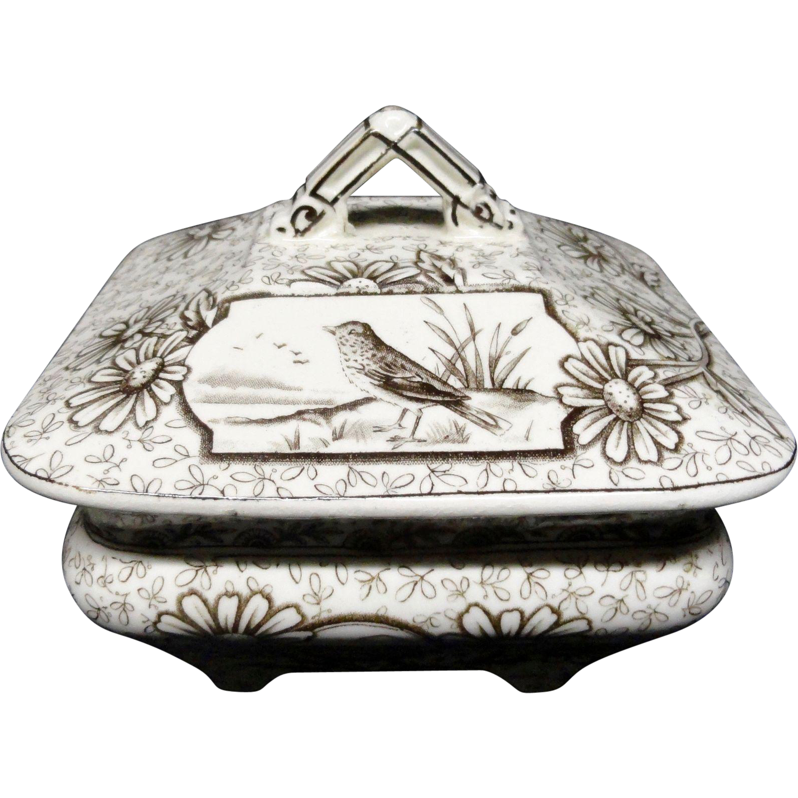 Staffordshire Brown Transferware Square Covered Dish ~ DEVONSHIRE 1885