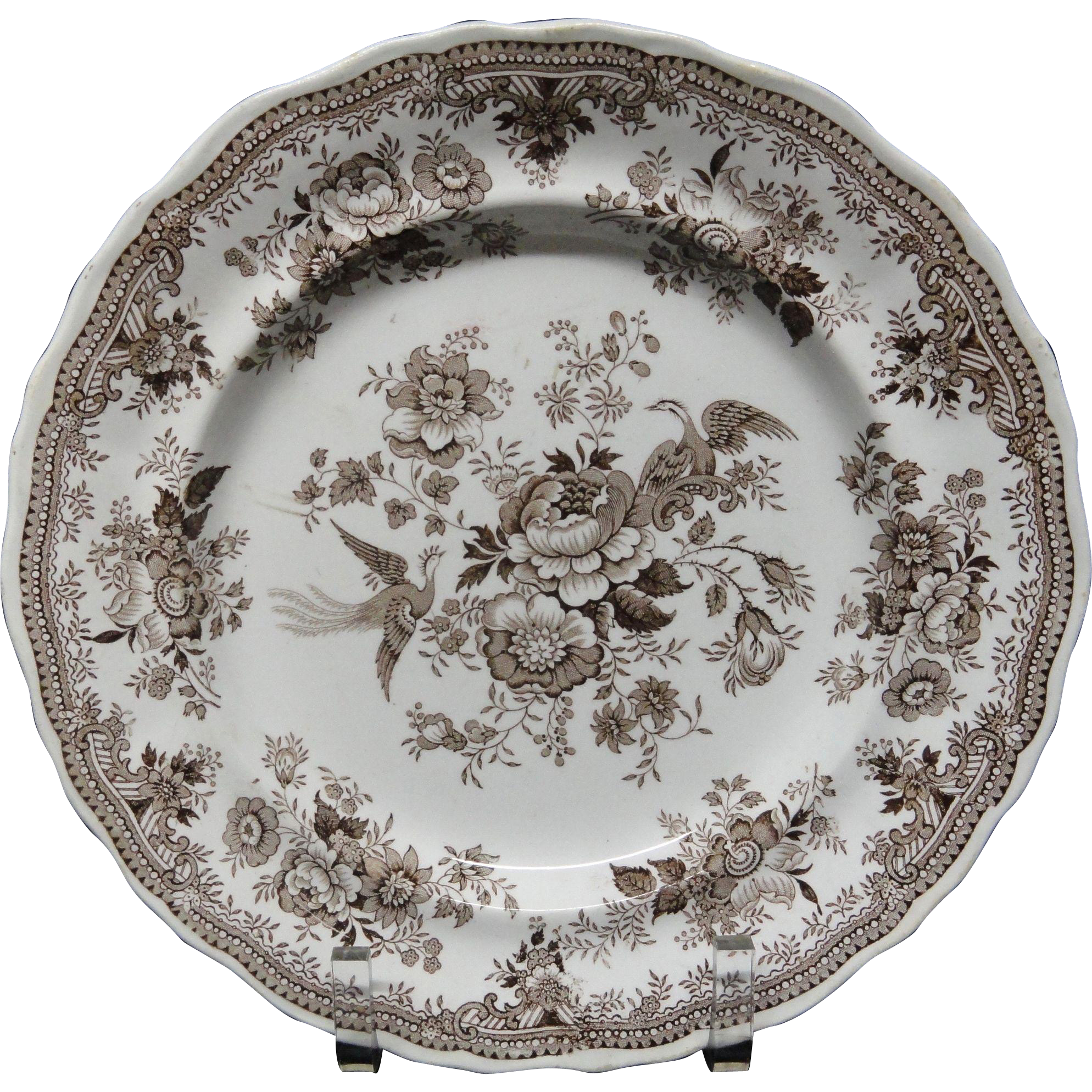 BROWN TRANSFERWARE Plate ~ ASIATIC PHEASANTS 1860