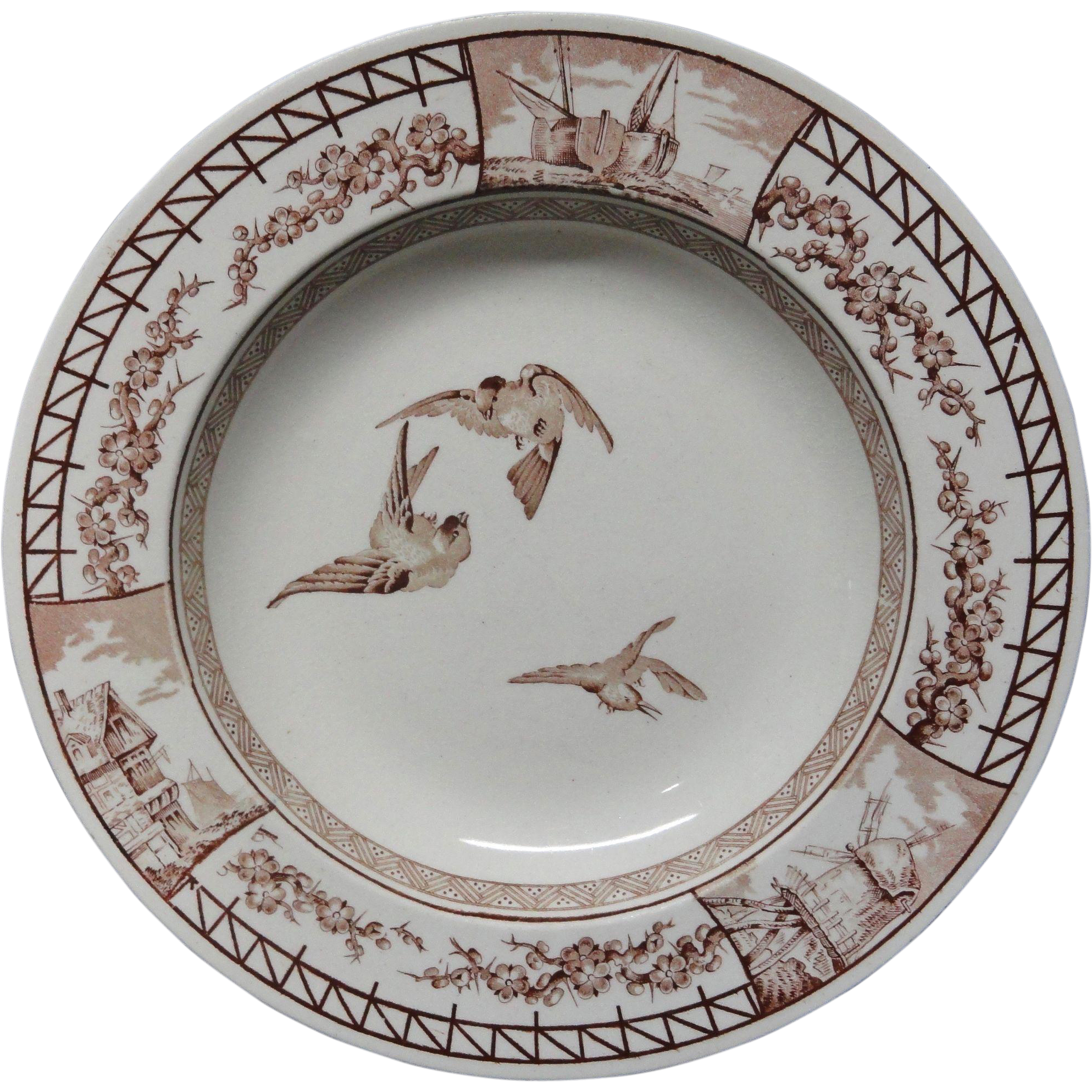 Antique Songbirds Victorian Soup Plate ~ FRANCE ~ 1879