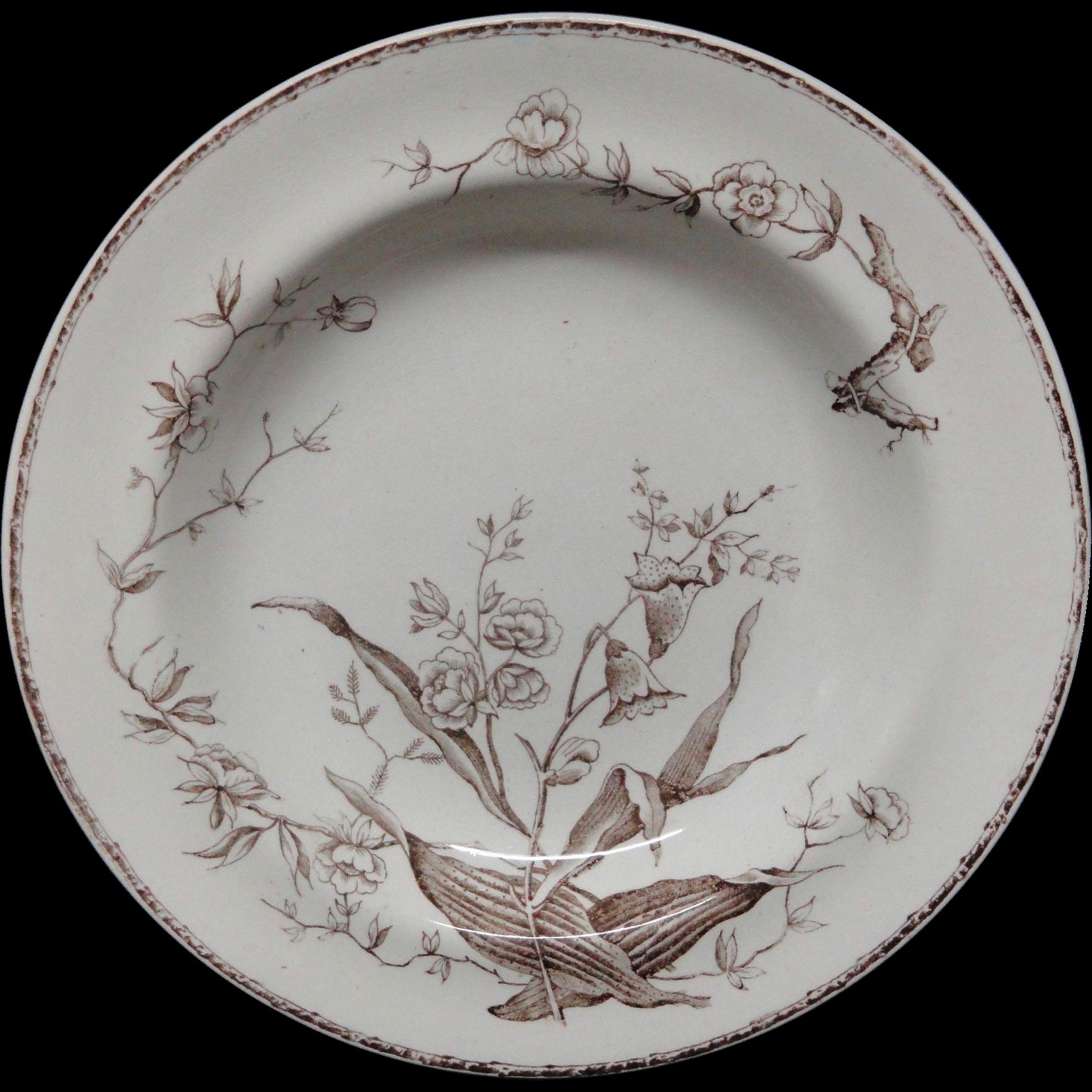 Antique Antique FLOWER SPRAYS Soup Plate ~ 1886