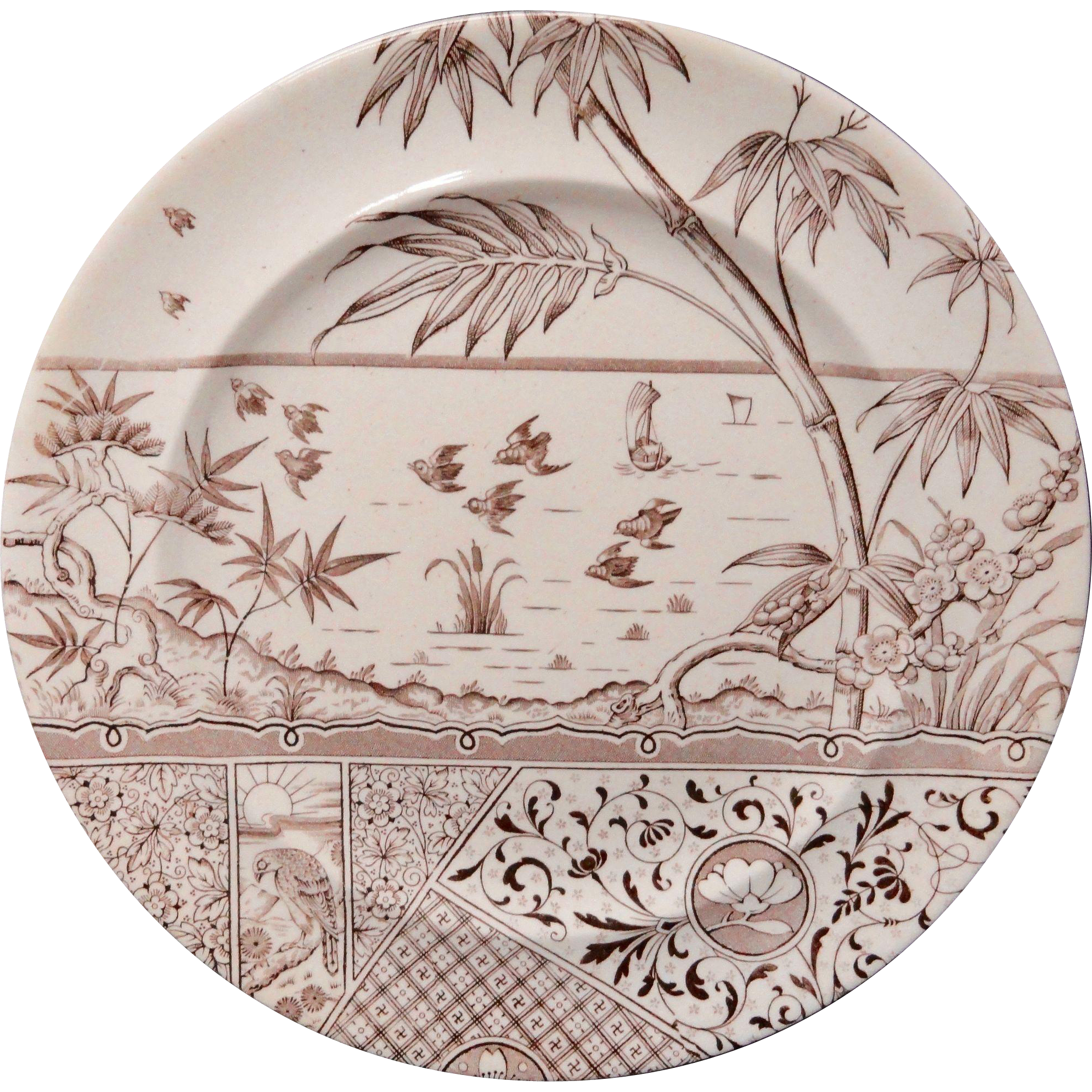 Antique Aesthetic Movement Plate ~ Hawk with Setting Sun ~ MELBOURNE ~1881