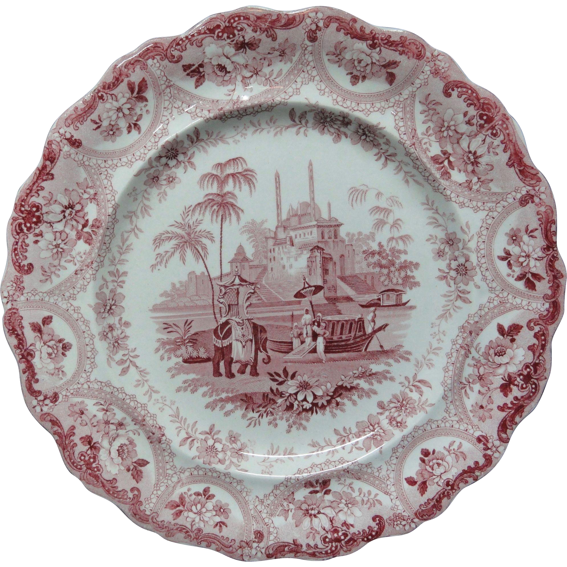 Romantic Pearlware Red Transferware Plate ~ ELEPHANT ~ 1830