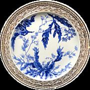 Rare Two-Color Brown Transferware Wedgwood Plate ~ SEAWEED 1883