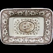 Brown Transferware Miniature Platter Tray ~ SUNFLOWERS 1883