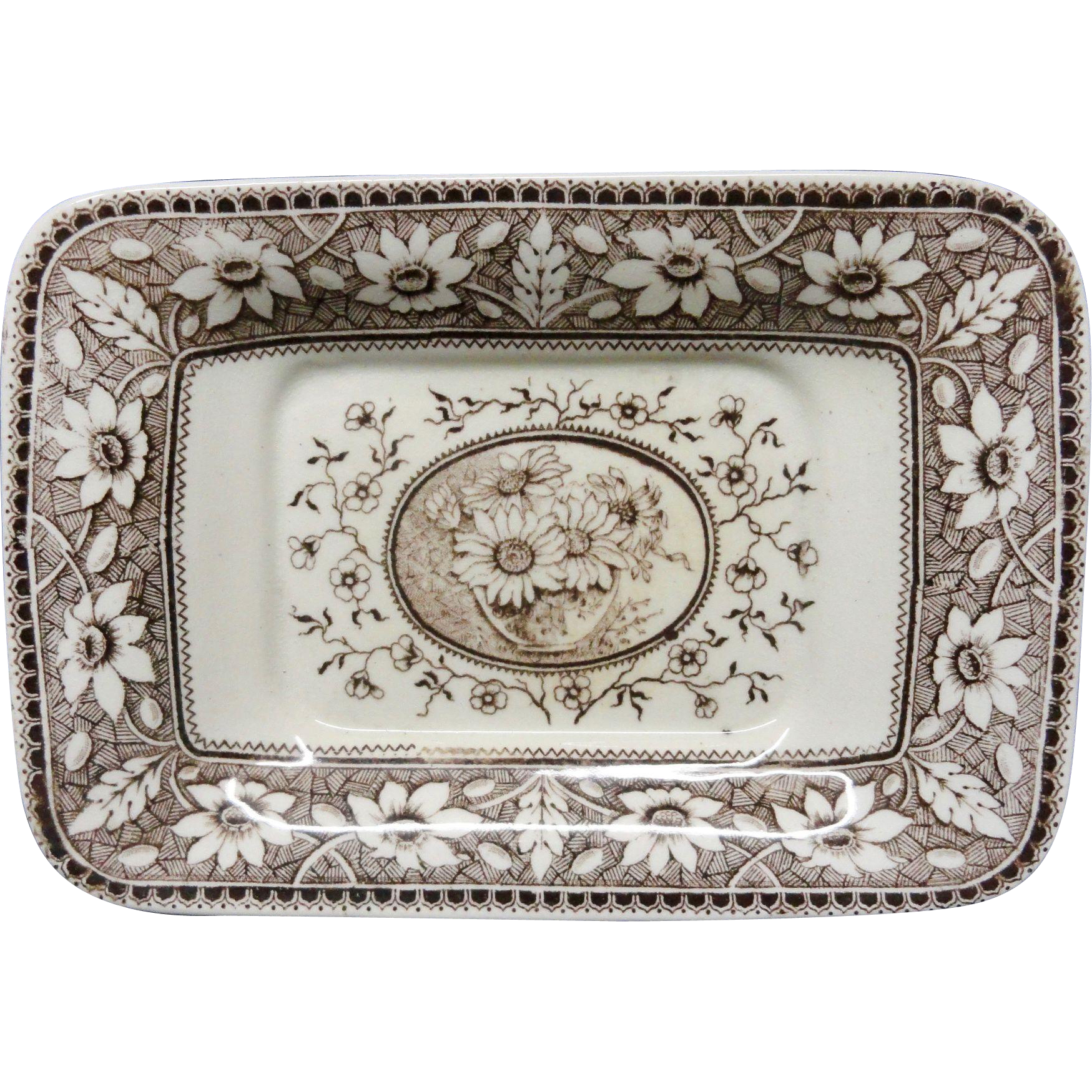 Brown Transferware Miniature Platter Tray ~ SUNFLOWERS 1883