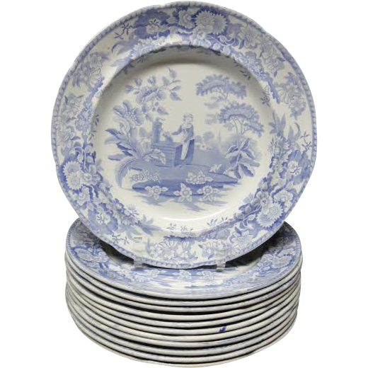 12 ~ Pearlware Blue Transferware Plate ~ Girl at the Well ~ c1840