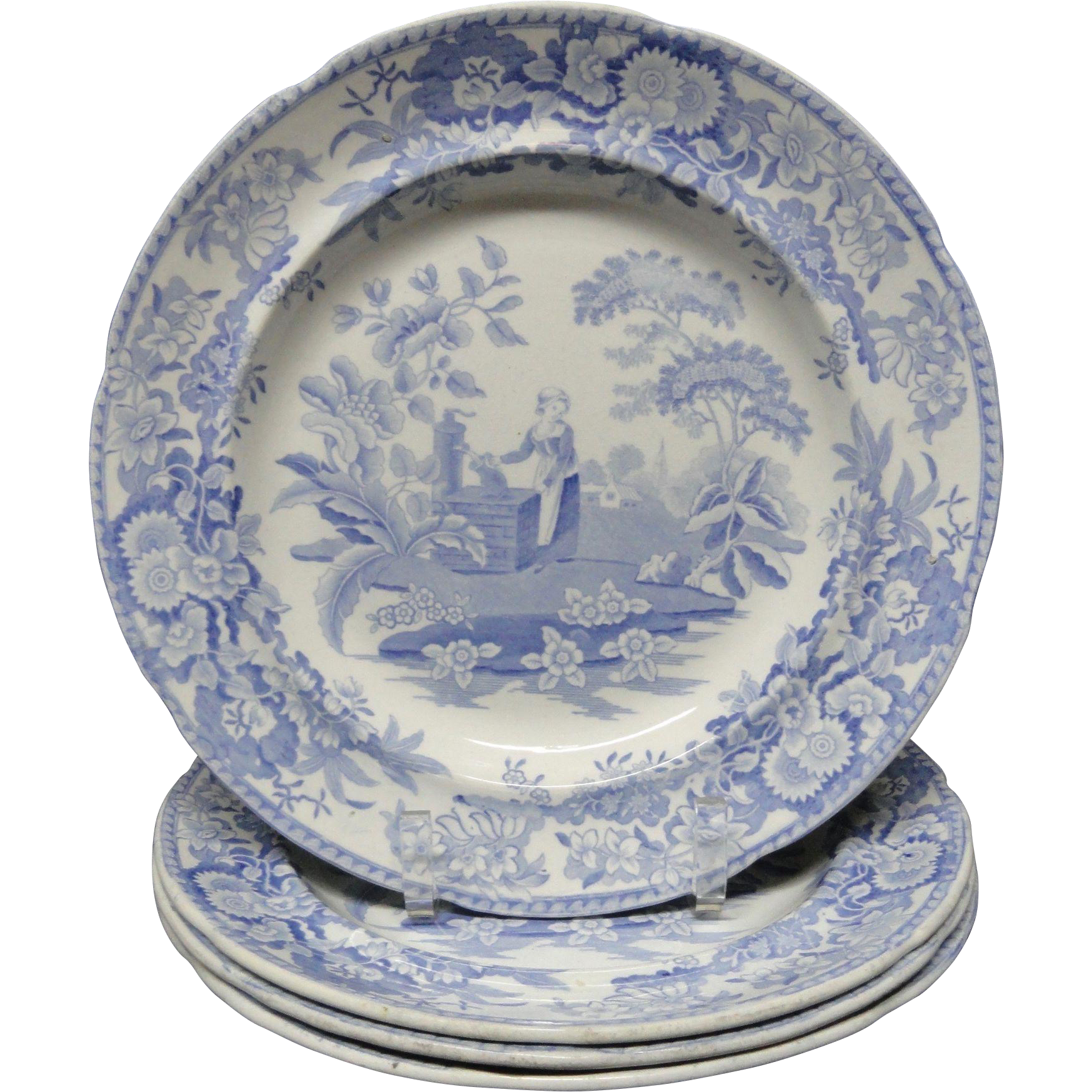 4 ~ Pearlware Blue Transferware Plate ~ Girl at the Well ~ c1840