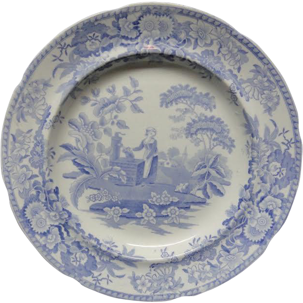 Antique Pearlware Blue Transferware Plate ~ Girl at the Well ~ c1840