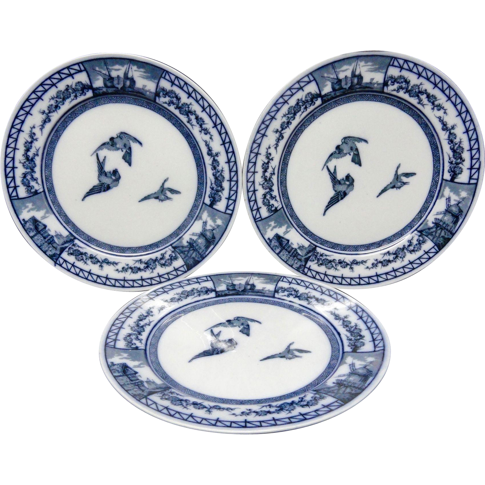 Three Spectacular SONGBIRDS Victorian Plates ~ FRANCE 1879