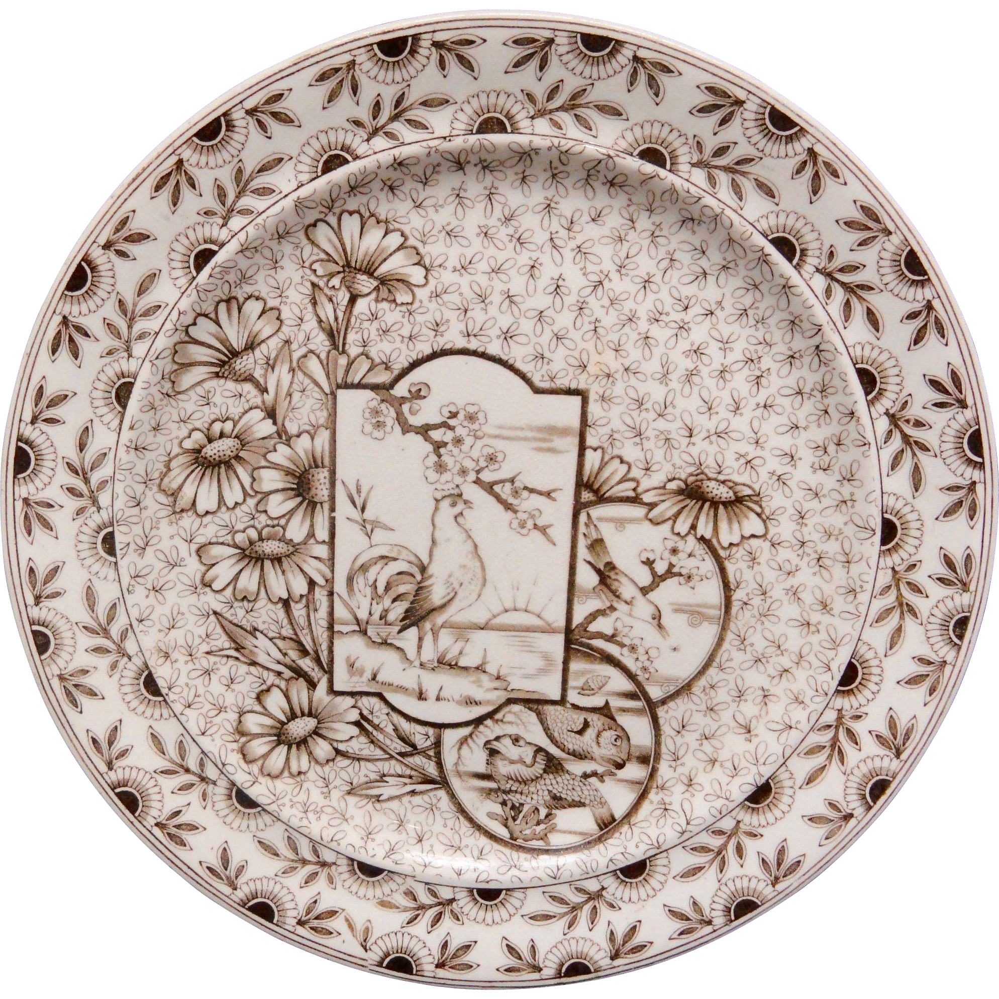 Staffordshire Brown Transfer Plate ~ Devonshire ~ Rooster ~ Fish 1885