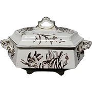English Brown Transferware Aesthetic Movement Era Tureen~ AMAZON 1880