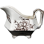 English Brown Transferware Aesthetic Movement Era Gravy Boat~ AMAZON 1880
