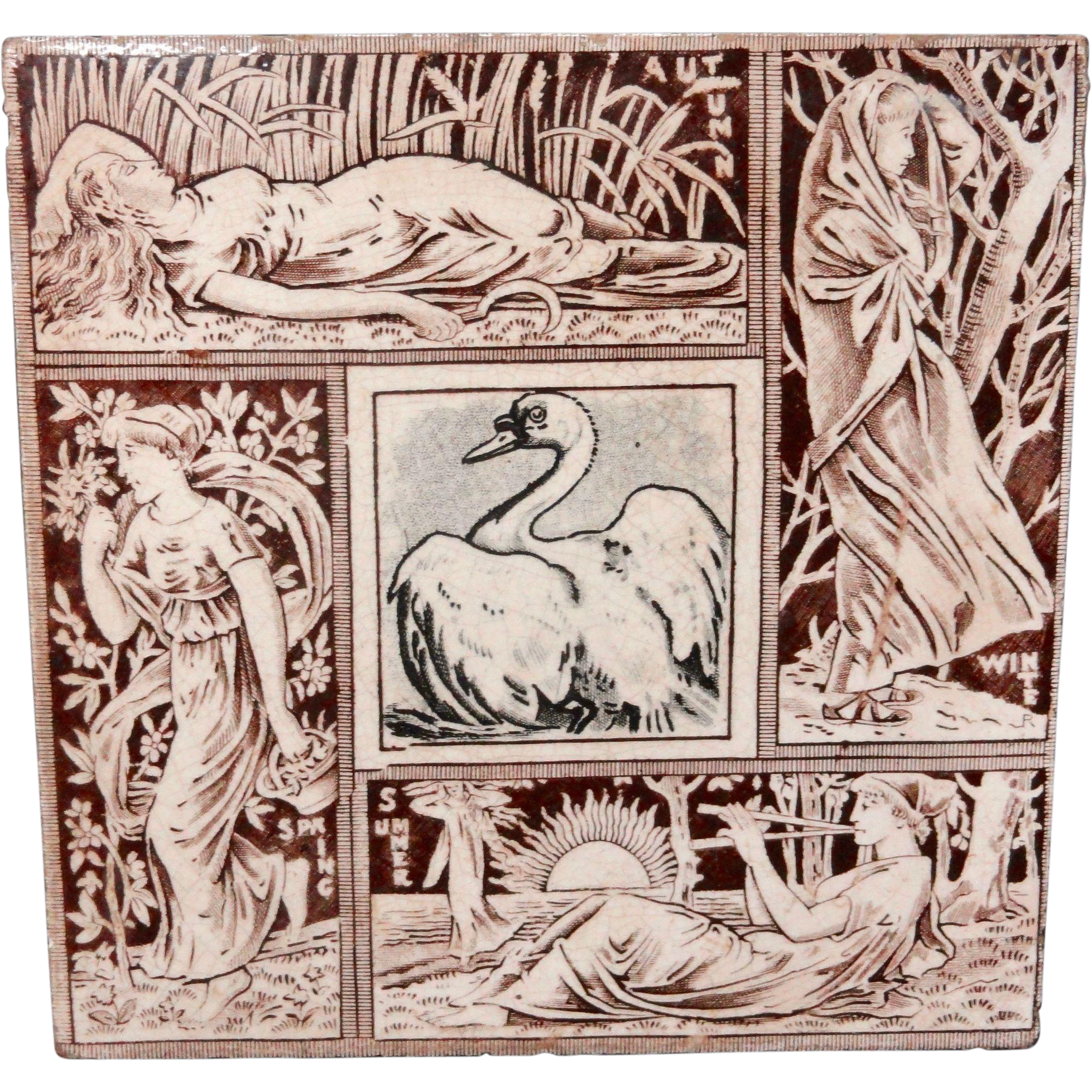 Seasons Tile ~ SWAN ~ Spring - Summer - Autumn - Winter 1876