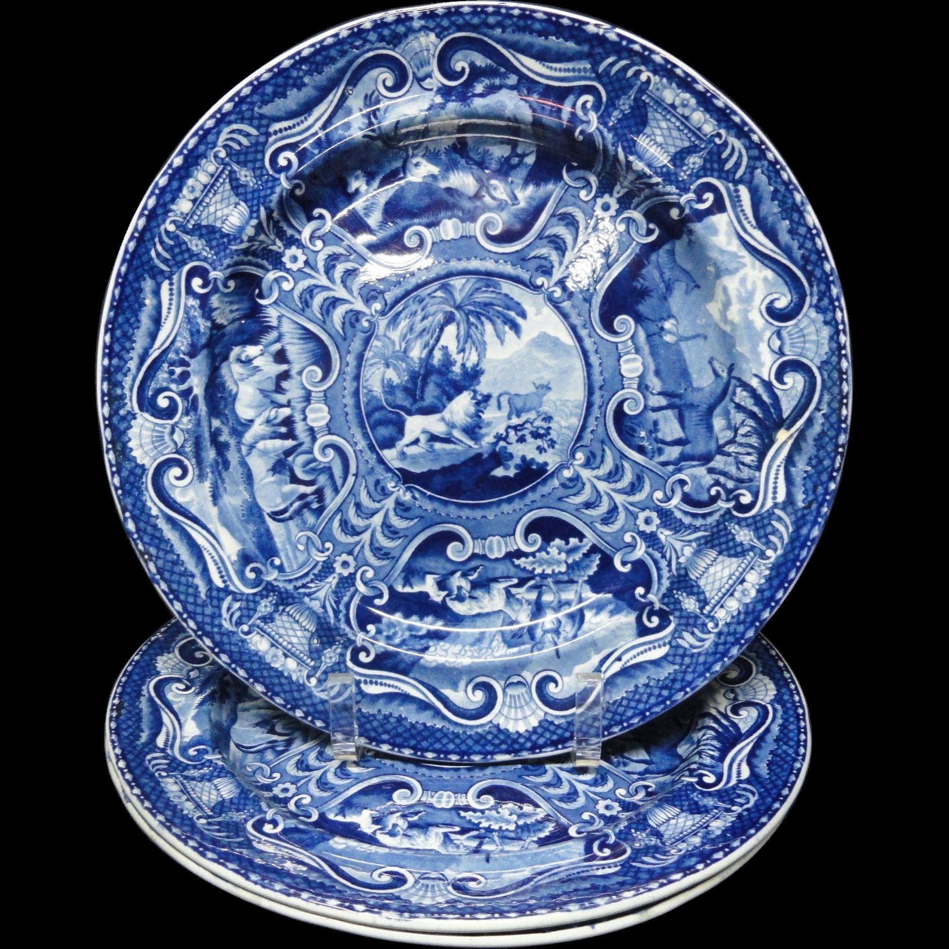 Three Large John Hall Staffordshire QUADRUPEDS Plate~ LION 1825