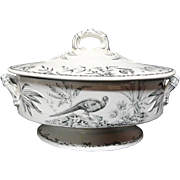 Huge Black Transferware SOUP TUREEN ~ Indus 1885
