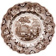 Brown Staffordshire Plate ~ Parisian Chateau 1830